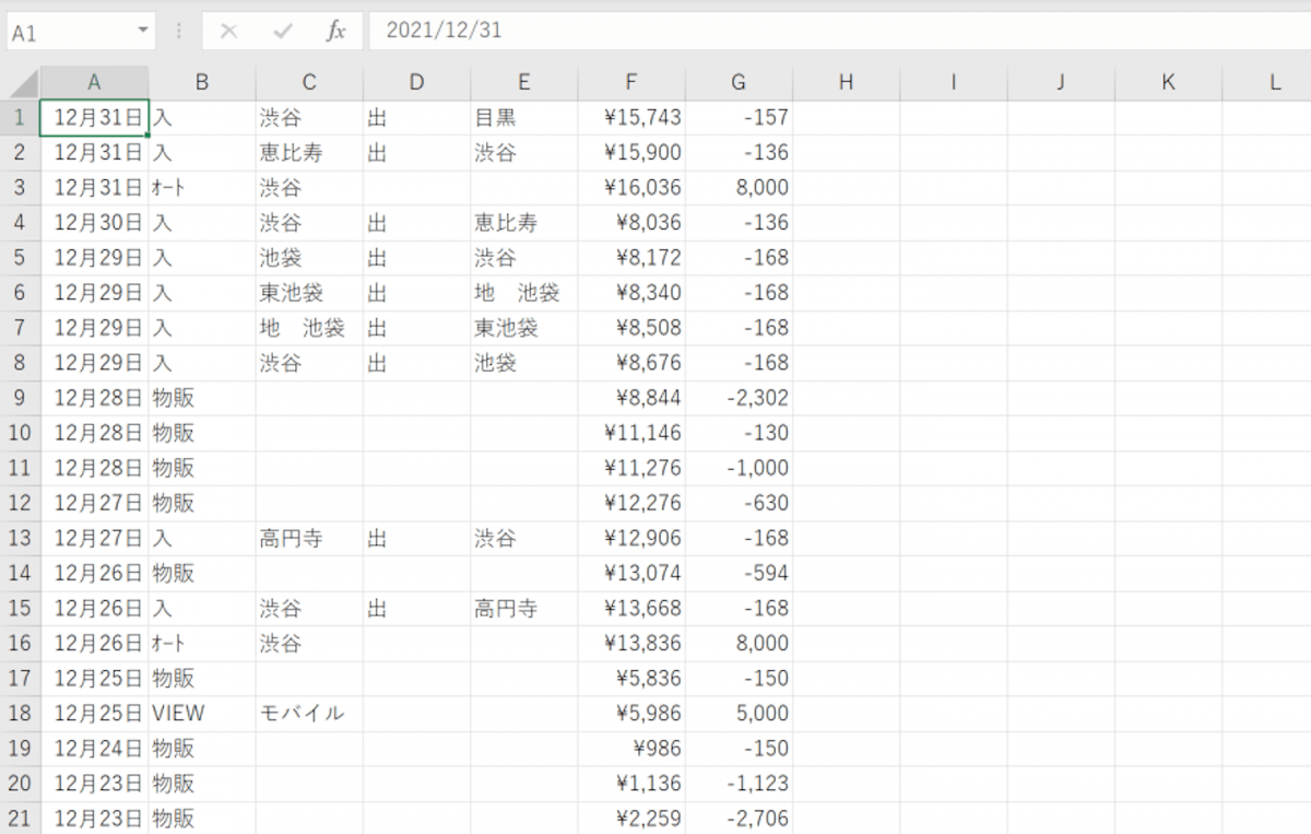 Excelでは実際に入力したときの年が付与される