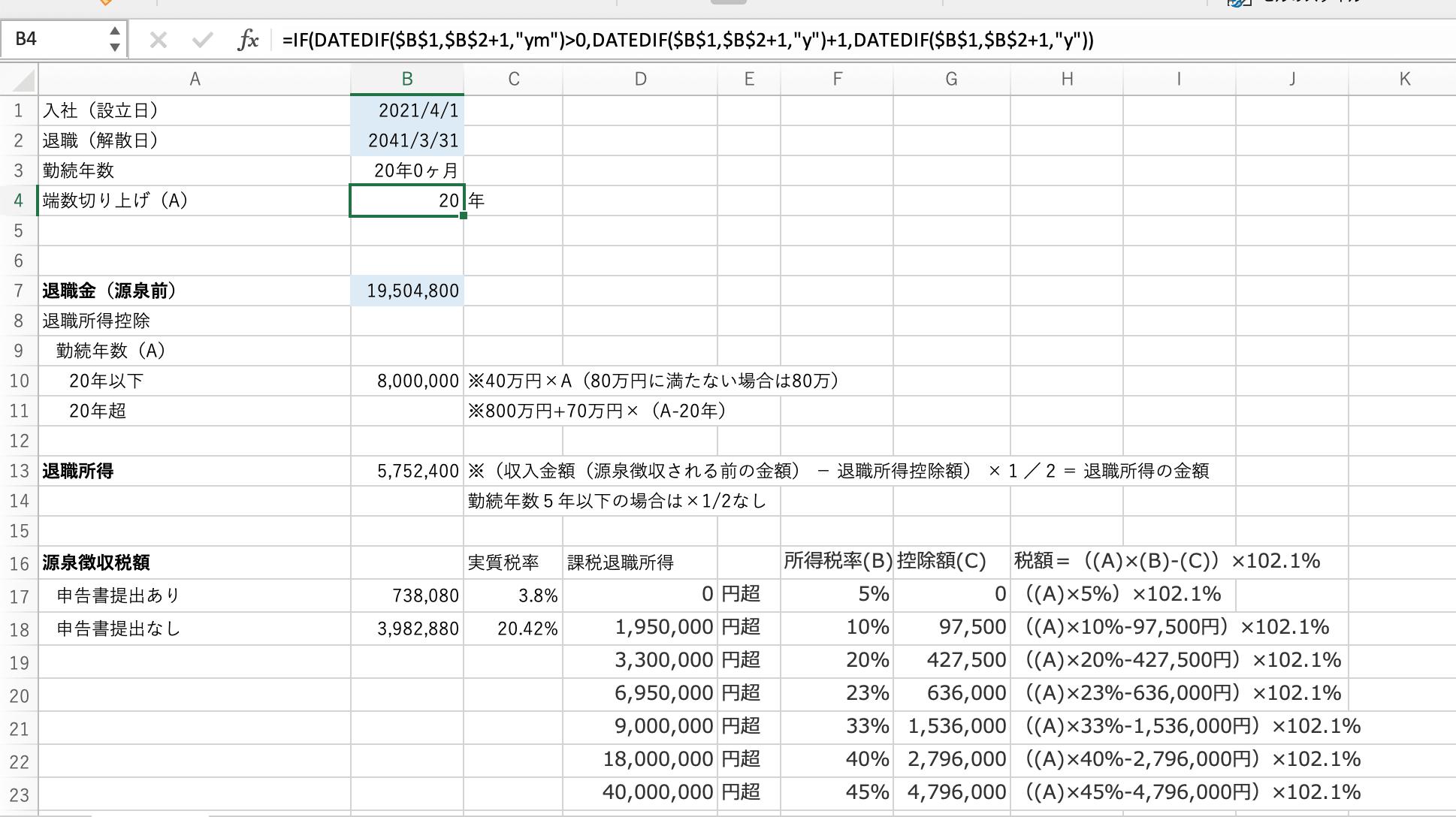 小規模企業共済を20年払った場合の退職所得と税金